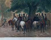 Riders sheltering from the rain. Print, 1864