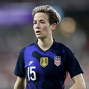 United States forward Megan Rapinoe (15) is seen during the first match of the 2020 She Believes Cup soccer tournament at Exploria Stadium on 5 March 2020 in Orlando, Florida USA.