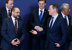 European Parliament President Martin Schulz(L, front) talks with British Prime Minister David Cameron(R, front) at family photo session during a two-day European Union leaders summit at the EU Council headquarters in Brussels, Belgium, March 17, 2016. EXPA Pictures © 2016, PhotoCredit: EXPA/ Photoshot/ Ye Pingfan<br /> <br /> *****ATTENTION - for AUT, SLO, CRO, SRB, BIH, MAZ, SUI only*****