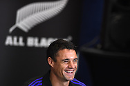 Dan Carter of New Zealand talks to the media.Rugby World Cup 2015 , New Zealand Allblacks player media session at the Hilton Hotel in Cardiff , South Wales on Monday 28th September 2015. The Allblacks are in Cardiff preparing for their next pool match against Georgia on Friday night.<br /> pic by  Andrew Orchard, Andrew Orchard sports photography.