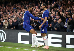 Chelsea's Ruben Loftus-Cheek (left) celebrates scoring his side's first goal of the game with Davide Zappacosta during the UEFA Europa League, Group L match at Stamford Bridge, London.