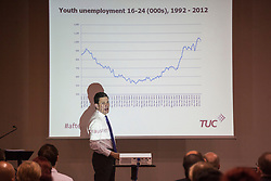 © licensed to London News Pictures. London, UK 04/07/2012. David Miliband analysing youth unemployment levels of the last 10 years at Tackling Youth Unemployment seminar, which organised by TUC at the Bloomsbury Hotel, today. Photo credit: Tolga Akmen/LNP
