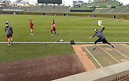 CHICAGO, IL - OCTOBER 28:  Andrew Miller #24 of the Cleveland Indians works out prior to Game 3 of the 2016 World Series at Wrigley Field on Friday, October 28, 2016 in Chicago, Illinois. (Photo by Ron Vesely/MLB Photos via Getty Images)