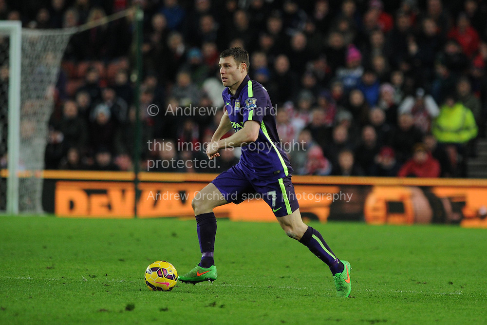 James Milner of Manchester city in action.  Premier League match, Stoke city v Manchester city at the Britannia Stadium in Stoke on Trent , Staffs on Wed 11th Feb 2015.<br /> pic by Andrew Orchard, Andrew Orchard sports photography.