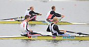 Eton, Great Britain,  Men's pair  final, GBR M2-  Bow, Peter REED and Andy TRIGGS HODGE, approaching the finish line to win the A final [background Alex PARTRIDGE and Alex GREGORY] at the 2010 GBRowing Trials, Dorney Lake. Berks. Sunday  10:56:15 [Mandatory Credit. Peter Spurrier/Intersport Images]