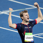 Athletics - Olympics: Day 13   Christophe Lamaitre of France celebrates after winning the bronze medal in the Men's 200m Final at the Olympic Stadium on August 18, 2016 in Rio de Janeiro, Brazil. (Photo by Tim Clayton/Corbis via Getty Images)