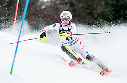 """Chiara Mair (AUT) competes during 1st Run of FIS Alpine Ski World Cup 2017/18 Ladies' Slalom race named """"Snow Queen Trophy 2018"""", on January 3, 2018 in Course Crveni Spust at Sljeme hill, Zagreb, Croatia. Photo by Vid Ponikvar / Sportida"""