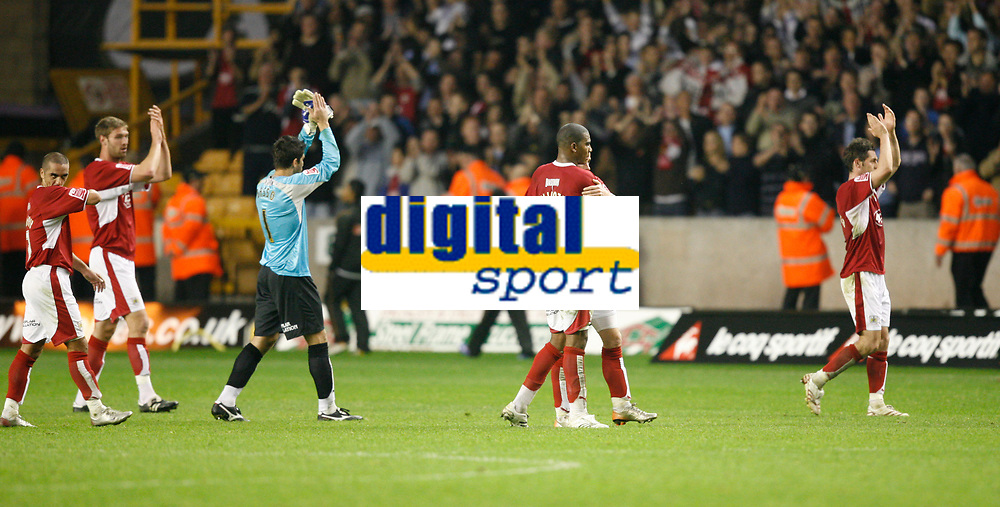 Photo: Steve Bond/Sportsbeat Images.<br />Wolverhampton Wanderers v Bristol City. Coca Cola Championship. 03/11/2007.Adriano Basso & Marvin Elliott join in applauding the travelling fans