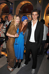Left to right, GEORGIE POWNALL, POPPY DOVER and MAX IRONS at a preview of Garrard's new collections and celebrates a Kaleidoscope of Colour at Garrard, 24 Albemarle Street, London on 10th May 2007.<br />
