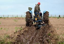 © Licensed to London News Pictures. <br /> 30/11/2014. <br /> <br /> Boulby, United Kingdom<br /> <br /> A competitor keeps his tractor and plough straight as he takes part in a ploughing match that takes place each year on fields next to the picturesque Yorkshire coastline near Staithes. Farmers attend each year to demonstrate their ploughing skills and to help raise money for charity with proceeds from this year going to Charlie Brown Cancer Care in Newcastle.<br /> <br /> <br /> Photo credit : Ian Forsyth/LNP