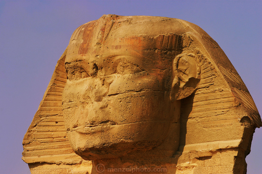 The visage of the Great Sphinx, Giza Pyramid complex at Giza, outside Cairo, Egypt.