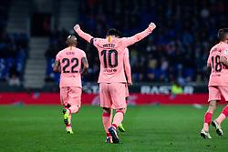 December 8, 2018 - Barcelona, BARCELONA, Spain - 10 Leo Messi of FC Barcelona celebrating his goal during the Spanish championship La Liga football match between RCD Espanyol v FC Barcelona on December 08, 2018 at RCD Stadium stadium in Barcelona, Spain. (Credit Image: © AFP7 via ZUMA Wire)