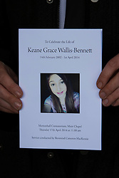 © Licensed to London News Pictures. 17/04/2014. Edinburgh, Scotland. The Order of Service at Keane Wallis Bennett Funeral. Keane Wallis Bennett funeral took place today at Morton Hall Crematorium Edinburgh. 12-year-old Keane Wallis-Bennett, died after a wall fell on her at Liberton High School in Edinburgh. Photo credit : Duncan McGlynn/LNP