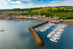 Aerial view from drone of village of Port Bannatyne on Isle of Bute, Argyll and Bute, Scotland, UK