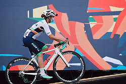 Leah Thomas (USA) rolls onto the presentation stage at the 2020 La Course By Le Tour with FDJ, a 96 km road race in Nice, France on August 29, 2020. Photo by Sean Robinson/velofocus.com
