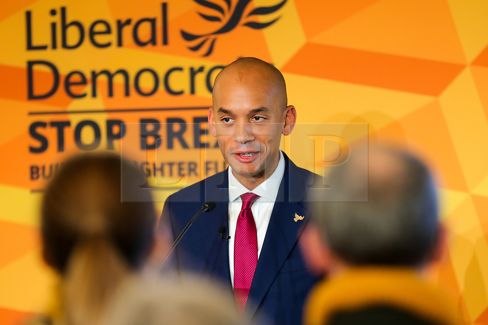 © Licensed to London News Pictures. 25/11/2019. Watford,  Hertfordshire UK. Liberal Democrat Foreign Affairs Spokesman and candidate of Cities of London & Westminster, CHUKA UMUNNA speaks to party activists and supporters at Watford Football Club on Liberal Democrat foreign policy ahead of the NATO Leaders Conference. The Liberal Democrats' commit to spending 2% of Gross Domestic Product (GDP) on defence, as mandated by NATO. Photo credit: Dinendra Haria/LNP