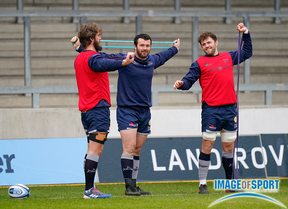 Sale Sharks Curtis Langdon and Sam Dugdale warm up before the game during a Gallagher Premiership Round 14 Rugby Union match, Sunday, Mar 21, 2021, in Eccles, United Kingdom. (Steve Flynn/Image of Sport)
