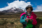 Chimborazo Volcano (Highest mountain in Ecuador) & Indians. Rosa Concha & David<br /> Andes<br /> ECUADOR, South America