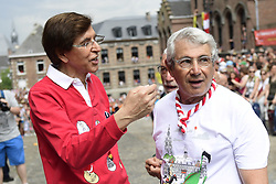 May 27, 2018 - Mons, BELGIUM - Mons Mayor Elio Di Rupo and French actor Michel Boujenah pictured at the Ducasse - Doudou folkloric festival in Mons, Sunday 27 May 2018. The Doudou feast compromises two parts, a procession with the shrine of Waltrude and the fight between Saint George and the dragon. The Doudou was recognized in 2005 by UNESCO as one of the masterpieces of the Oral and Intangible Heritage of Humanity. ..BELGA PHOTO LAURIE DIEFFEMBACQ (Credit Image: © Laurie Dieffembacq/Belga via ZUMA Press)