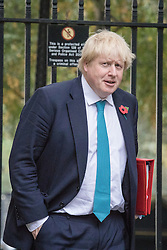 © Licensed to London News Pictures. 01/11/2016. London, UK. Foreign Secretary Boris Johnson arrives on Downing Street for the weekly Cabinet meeting. Photo credit: Rob Pinney/LNP