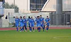 Players of Gorica celebrate during football match between ND Gorica and ND Mura 05 in 20th Round of PrvaLiga NZS 2012/13 on November 24, 2012 in Nova Gorica, Slovenia. (Photo By Ales Cipot / Sportida)