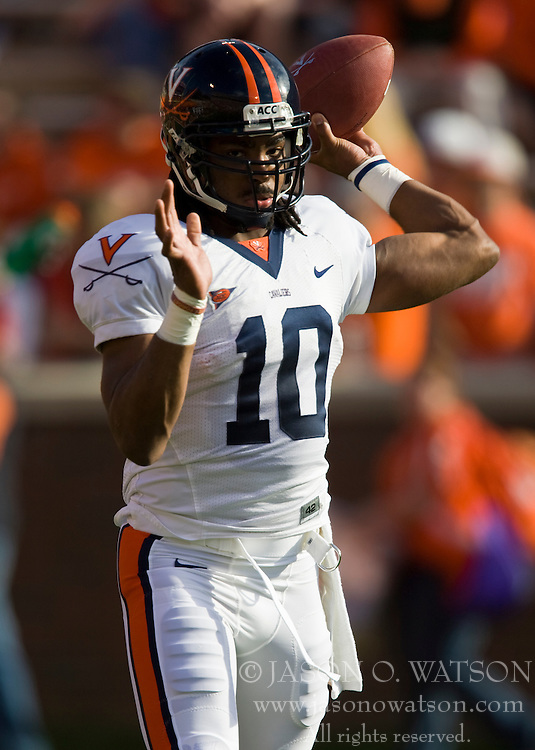 November 21, 2009; Clemson, SC, USA;  Virginia Cavaliers quarterback Jameel Sewell (10) before the game against the Virginia Cavaliers at Memorial Stadium.  Clemson defeated Virginia 34-21.