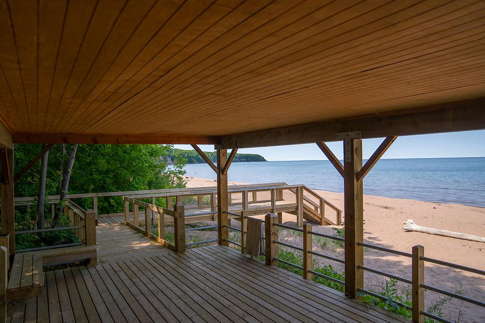 Scene from the Lake Superior shoreline in Big Bay, Michigan.