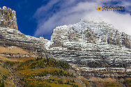 The Garden Wall with seasons first snow in Glacier National Park, Montana, USA