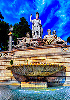 """""""Fountain of the goddess Roma in People's Square""""…<br /> <br /> Staying in a hotel which was a converted Monastery, Residenza Di Ripetta is between Piazza del Popolo and the famous Spanish Steps, centers of activity in Roma.  Piazza del Popolo is a harmonious oval piazza situated near Borghese Park. Three churches border the square and located in the center is an ancient obelisk from Heliopolis, Egypt dating from 1300 BC.  Santa Maria del Popolo is the most celebrated of the churches, built in the year 1477 and containing sculptures from Bernini and paintings from one of my favorite artists, Caravaggio.  The fountain on the western end of the square is the Fontana del Nettuno and shows Neptune accompanied by Tritons. The fountain opposite the Neptune Fountain, at the foot of the Pincio Gardens, is known as the Fontana della dea di Roma. The central figure is the goddess Rome, flanked by allegorical figures representing the rivers Tiber and Aniene. Below the goddess is a statue of a she-wolf suckling Remus and Romulus, founders of Rome.  This is a very common and visited site in the Piazza, but I was fortunate to have perfect skies and stationary subjects for the creation of the image."""