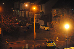 © Licensed to London News Pictures. 12/02/2013.Fulwich Road, Dartford..A man in his 30s has been fatally shot dead in Fulwich Road,Dartford in Kent tonight (12/02/2013)..Police were called to Overy Street at 8pm to a report that a man had been found injured in the street..Fulwich Road is opposite the local Wickes superstore which is on Overy Street,Dartford..Photo credit : Grant Falvey/LNP