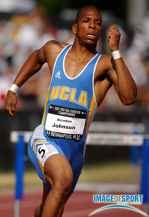 Brandon Johnson of UCLA wins 400-meter hurdle heat in 50.04 in the USA Track & Field Championships at Carroll Stadium in Indianapolis, Ind. on Thursday, June 21, 2007.