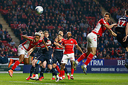 GOAL 1-0 Charlton Athletic midfielder Krystian Bielik (4) heads in the first goal of the match during the EFL Sky Bet League 1 second leg Play-Off match between Charlton Athletic and Doncaster Rovers at The Valley, London, England on 17 May 2019.