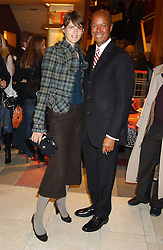 """Model STELLA TENNANT and MICHAEL ROBERTS at a party hosted by Christopher Bailey to celebrate the launch of """"The Snippy World of New Yorker Fashion Artist Michael Roberts"""" held at Burberry, 21-23 New Bond Street, London on 20th September 2005.<br /><br />NON EXCLUSIVE - WORLD RIGHTS"""