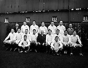Irish Rugby Football Union, Ireland v Australia, Tour Match, Landsdowne Road, Dublin, Ireland, Saturday 18th January, 1958,.18.1.1958, 1.18.1958,..Referee- W J Evans, Welsh Rugby Union, ..Score- Ireland 9 - 6 Australia, ..Australian Team, ..T G P Curley, Wearing number 1 Australian jersey, Full Back, New South Wales Rugby Football Club, Sydney, Australia,..R Phelps, Wearing number 6 Australian jersey, Left Wing, New South Wales Rugby Football Club, Sydney, Australia,..J M Potts, Wearing number 8 Australian jersey, Inside Centre, New South Wales Rugby Football Club, Sydney, Australia,..S White, Wearing number 2 Australian jersey, Outside Centre, New South Wales Rugby Football Club, Sydney, Australia,..K J Donald, Wearing number 3 Australian jersey, Right Wing, Queensland Rugby Football Club, Queensland, Australia, ..A J Summons, Wearing number 12 Australian jersey, Five Eight, New South Wales Rugby Football Club, Sydney, Australia, ..D M Connor, Wearing number 13 Australian jersey, Half Back, Queensland Rugby Football Club, Queensland, Australia, ..R A L Davidson, Wearing number 25 Australian jersey, Captain of the Australian team, Forward, New South Wales Rugby Football Club, Sydney, Australia,..J V Brown, Wearing number 29 Australian jersey, Forward, New South Wales Rugby Football Club, Sydney, Australia, ..N Shehadie, Wearing number 24 Australian jersey, Forward, New South Wales Rugby Football Club, Sydney, Australia, ..A S Cameron, Wearing number 21 Australian jersey, Forward, New South Wales Rugby Football Club, Sydney, Australia, ..D N Emanuel, Wearing number 22 Australian jersey, Forward, New South Wales Rugby Football Club, Sydney, Australia, ..P T Fenwicke, Wearing number 15 Australian jersey, Forward, New South Wales Rugby Football Club, Sydney, Australia, ..N M Hughes, Wearing number 17 Australian jersey, Forward, New South Wales Rugby Football Club, Sydney, Australia, ..J E Thornett, Wearing number 19 Australian jersey, Forward, New South Wales Rugby Foot