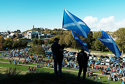All Under One Banner Independence March, Edinburgh, Saturday 6th October 2018<br /> <br /> Pictured: Crowd at Scottish Parliament <br /> <br /> (c) Aimee Todd | Edinburgh Elite media
