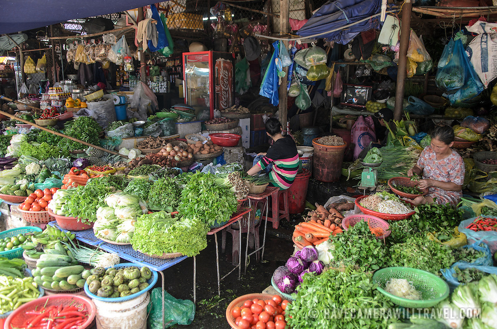 Fresh produce for sale at Cho Dong Ba, the main city market in Hue, Vietnam.