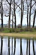Nederland, Ooij, 4-10-2012De bizonbaai is een recreatieplas, waterplas, meertje, baai, langs de rivier de Waal. Onderdeel van staatsbosbeheer. Op de zomerdijk staan grote hoge bomen. Ze weerspiegelen in het water.Foto: Flip Franssen/Hollandse Hoogte