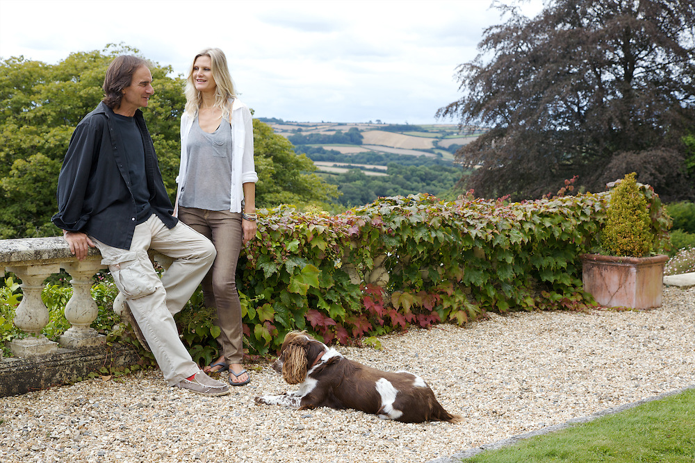 Owners Laurence Delamar and Leonie Nanassy and their dog Fuglie at The Old Rectory, Chumleigh, Devon CREDIT: Vanessa Berberian for The Wall Street Journal<br /> LUXRENT-Nanassy/Chulmleigh