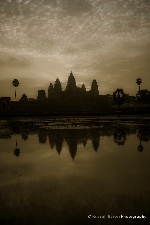 Silhouette of Angkor Wat Temple at Sunrise, Siem Reap, Cambodia