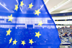 European flag at the European Parliament in Strasbourg, eastern France, on May 23, 2019, ahead of upcoming European elections. European elections will be held from May 22 to 26, 2019. Photo by Nicolas Roses/ABACAPRESS.COM