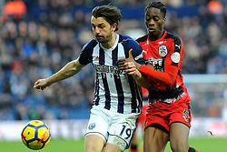 Jay Rodriguez of West Bromwich Albion battles with Terence Kongolo of Huddersfield Town -Mandatory by-line: Nizaam Jones/JMP - 24/02/2018 - FOOTBALL - The Hawthorns - West Bromwich, England - West Bromwich Albion v Huddersfield Town- Premier League