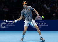 Tennis - 2019 Nitto ATP Finals at The O2 - Day One<br /> <br /> Singles Group Bjorn Borg: Roger Federer (Switzerland) vs. Dominic Thiem (Austria)<br /> <br /> Dominic Thiem (Austria) with a forehand return of serve <br /> <br /> COLORSPORT/DANIEL BEARHAM