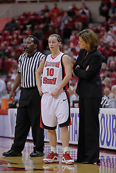 29 March 2009: Kristi Cirone and Robin Pingeton have a discussion near the bench during a Hoosier free throw.  The Hoosiers of Indiana fall to the Redbirds of Illinois State 66-55 during a Women's National Invitational quarterfinal game on Doug Collins Court inside Redbird Arena in Normal Illinois.