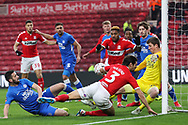 Middlesbrough defender George Friend (3) goes close in a packed goalmouth during The FA Cup 3rd round match between Middlesbrough and Peterborough United at the Riverside Stadium, Middlesbrough, England on 5 January 2019.