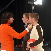 Opname commercial C&A / cliniclowns, Mari van Veen, make up Frank en Ronald de Boer