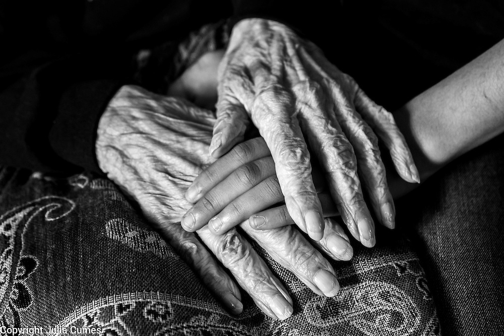 """The hands of Alice Mendes,105, and her great-grandniece, Sophie Friend,12, lie intertwined on Alice's lap. The two have always had a powerful connection and have been pen pals for the past few years. Alice, who despite her age, remains the adored family matriarch, immigrated to the United States as an infant from Cape Verde in 1910. """"Things were really different back then. No gas stoves, no street lights or traffic lights. I remember my mother getting up early in the morning to start the coal stove so that the house would be warm when we woke up,"""" she explains. Alice spent much of her life working as a nanny and housekeeper and married the love of her life, Jimmy Mendes, a professional boxer and fisherman who ended up dying at sea in a storm."""