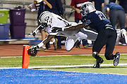 Cedar Ridge wide receiver Charles Porter reaches for the goal line for a touchdown in the first half against Hendrickson Friday September 27, 2013 at Hawk Stadium.  LOURDES M SHOAF/Round Rock Leader