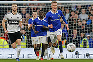 Oldham Athletic forward Sam Surridge (9) and Fulham defender Calum Chambers (5) chase the ball during The FA Cup 3rd round match between Fulham and Oldham Athletic at Craven Cottage, London, England on 6 January 2019.