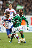 FOOTBALL - FRENCH LEAGUE CUP 2011/2012 - 1/8 FINAL - AS SAINT ETIENNE v OLYMPIQUE LYONNAIS - 26/10/2011 - PHOTO EDDY LEMAISTRE / DPPI - KIL KALLSTROM (OL) AND FLORENT SINAMA PONGOLLE (ASSE)