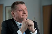 11 JAN 2012, BERLIN/GERMANY:<br /> Hermann Groehe, CDU Generalsekretaer, waehrend einem Interview, in seinem Buero, Konrad-Adenauer-Haus<br /> IMAGE: 20120111-01-022<br /> KEYWORDS: Hermann Gröhe, Büro